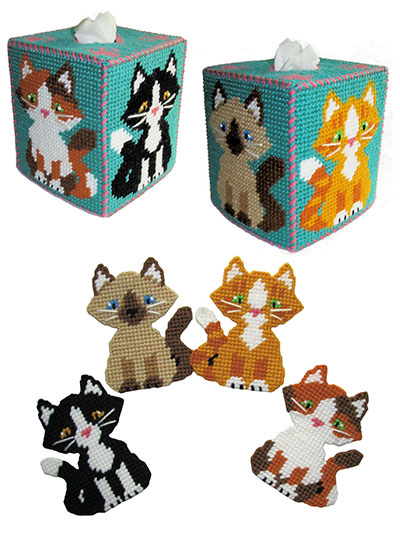 photograph relating to Free Printable Plastic Canvas Tissue Box Patterns known as Cuddly Kitty Decor Plastic Canvas Routine