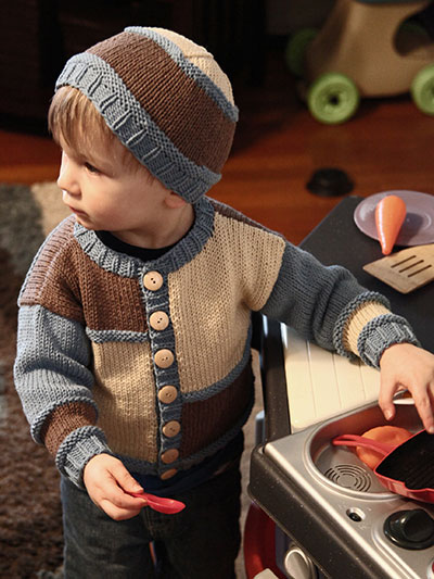 Baby Kids Knit Downloads Color Block Cardigan Hat Knit Pattern