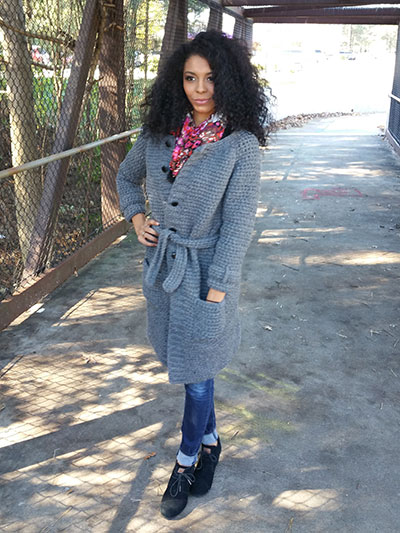 Crochet Coat Pattern - Crochet a Long Coat for a winters day using worsted weight yarn