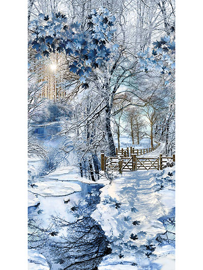 Floral Nature Fabric Panels Scenic Snowfall Panel 24 X 42