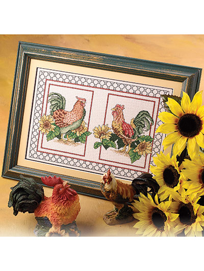 Roosters With Sunflowers Cross Stitch Pattern