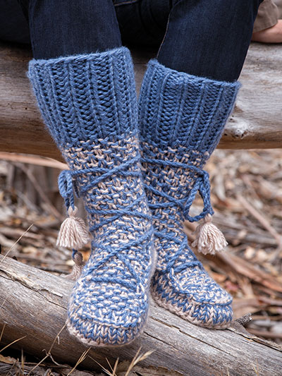 Annies Signature Designs Mukluk Knit Booties Knit Pattern