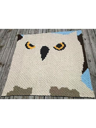 Corner-to-Corner Owl Afghan Crochet Pattern