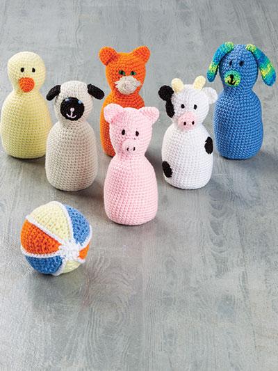 Crochet Toy Patterns Barnyard Bowling Crochet Set