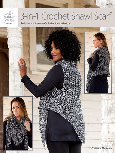 Crochet 3 in 1 Crochet Shawl Scarf Pattern