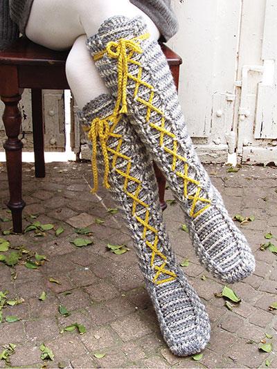 New Crochet Patterns - Laced Knee-High Socks Crochet Pattern
