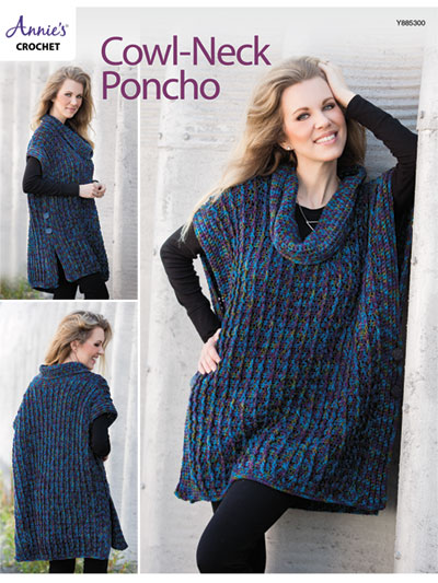 Cowl Neck Poncho Crochet Pattern