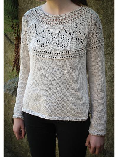 Lace Knitting Patterns Agnes Round Yoke Sweater Knit Pattern