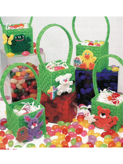 Jelly Bean Easter Baskets in Plastic Canvas