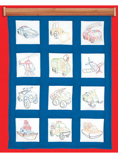Stamped Embroidery Patterns Rescue Vehicles 9 Prestamped Quilt Blocks