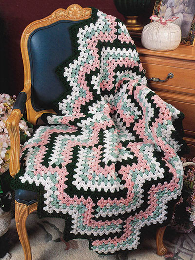 Crochet a Diamond Zigzag afghan pattern
