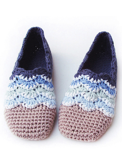 Crochet a pair of beach wave slippers