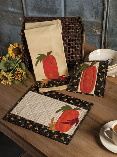 EXCLUSIVELY ANNIE'S QUILT DESIGNS: Pick a Pumpkin Kitchen Set Pattern