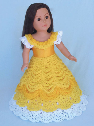 "BELLE Princess Dress - CROCHET A pretty Princess Gown inspired by Beauty and the Beast is perfect for your 18"" doll. Instructions are given for the design to be made with baby-, sport- or worsted-weight yarn."