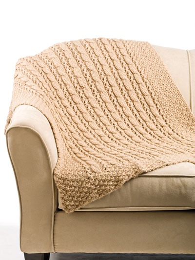 Cable & Eyelet Rib Afghan Knit Pattern
