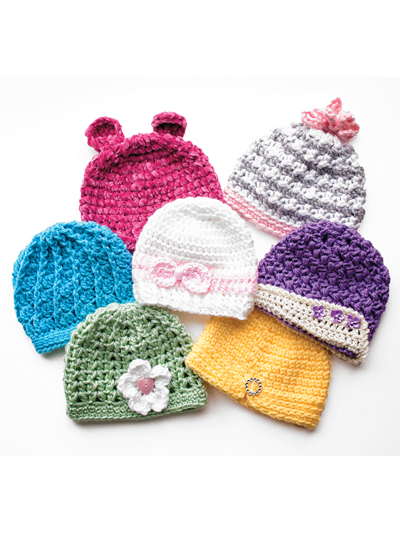 Newborn Girly Hats Crochet Pattern