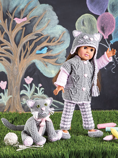 Paid and Free Crochet Patterns for 18-inch Dolls Like the American Girl Doll - Pussycat, Pussycat, Where Have You Been? Crochet Pattern