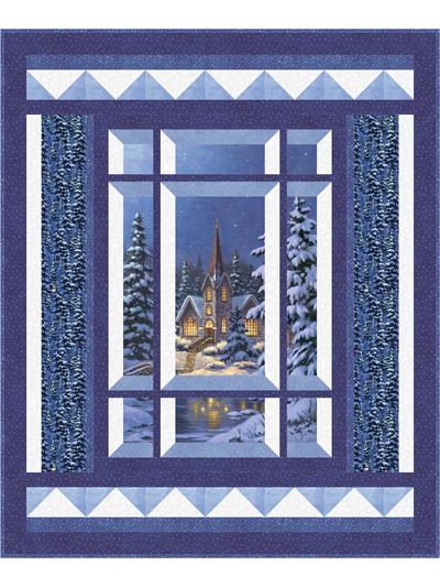 Christmas Attic Window Quilt Pattern.Modern Window Silent Night Pattern