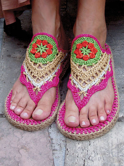 Flower Power Hippie Sandals With Doormat Soles Crochet pattern