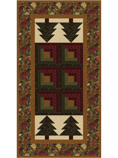 Log Cabin Christmas Quilt.Log Cabin In The Pines Table Runner Pattern
