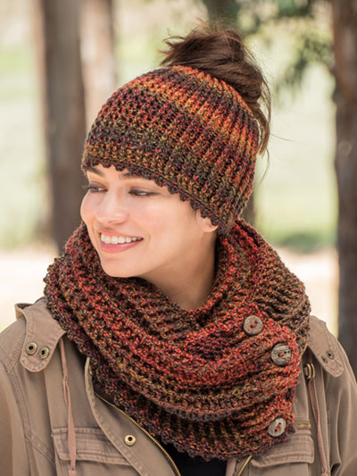 Crochet Messy Bun Hat and Cowl Pattern