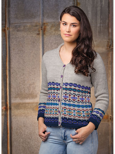 5e0ed3eaf34f Cardigan   Jacket Knit Patterns - Border Fair Isle Cardigan Knit Pattern