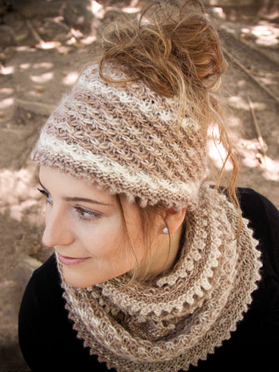 Autumn Dust Messy Bun Hat and Cowl Knitting Pattern