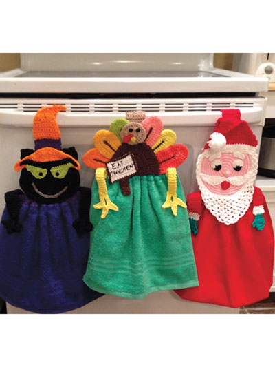 Seasonal Crochet Patterns Holiday Trilogy Towel Toppers Crochet