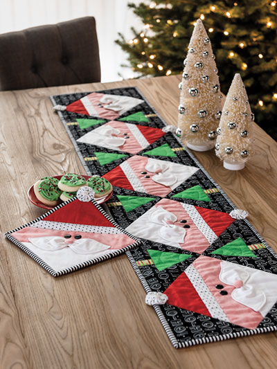 Santa Table Runner and Pot Holder Christmas Quilt Pattern