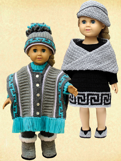 Stylish Winter Outfits - Paid and Free Crochet Patterns for 18-inch Dolls Like the American Girl Doll