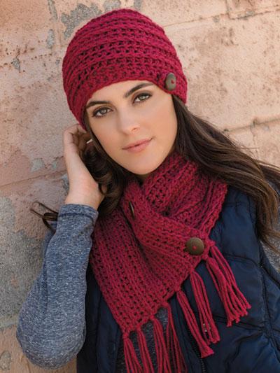 Crochet Patterns - Chunky Chain Button Scarf & Hat Crochet Pattern