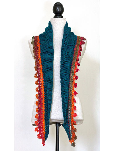 Crochet Scarf Patterns Fire On Ice Baktus Scarf