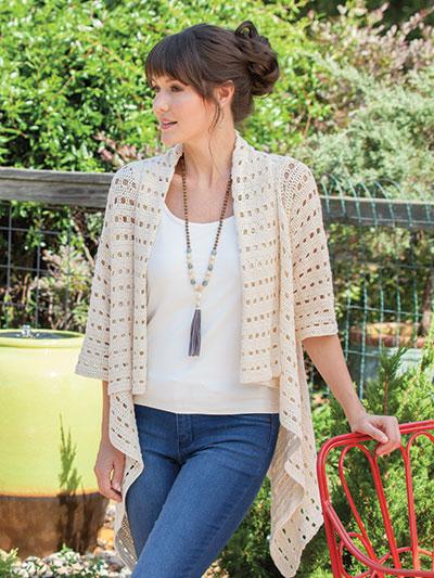 Crochet Breezy Open Mesh Cardigan Crochet Pattern Yc88187