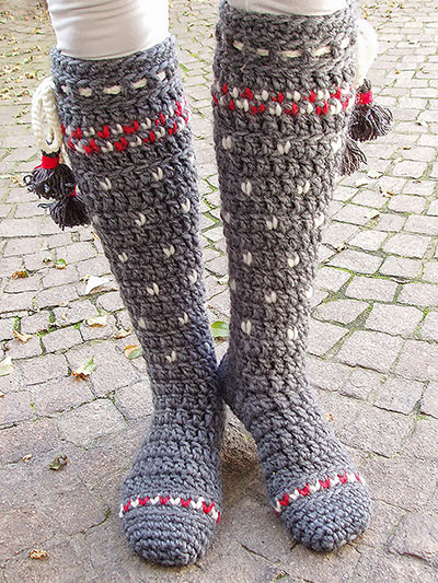 Lillehammer Knee High Crochet Socks Pattern