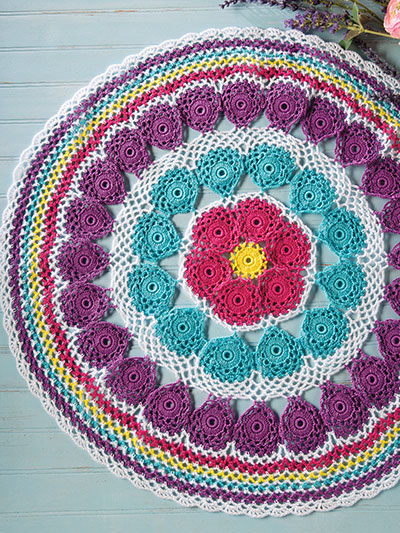 Crochet Downloads For The Home Color Wheel Table Mat Crochet Pattern