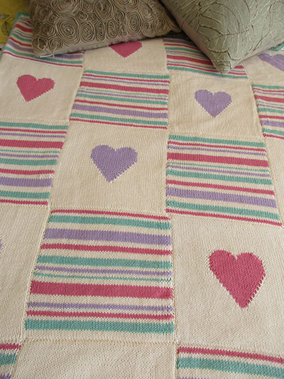Baby Kids Knit Downloads Hearts And Stripes Throw Knit Pattern