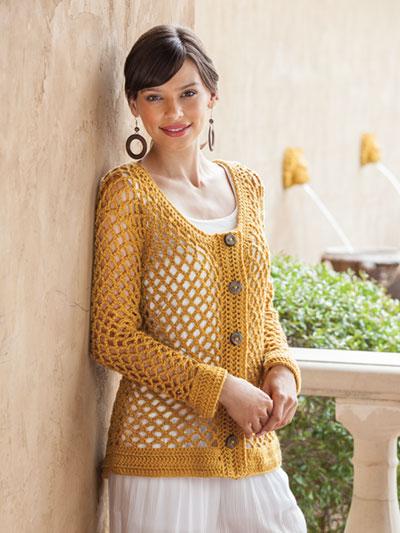 SIGNATURE DESIGNS: Golden Mesh Cardigan Crochet Pattern
