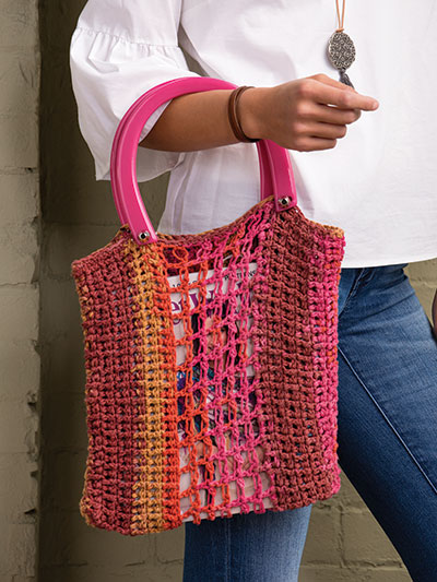 Crochet Handbag Patterns Knotted Net Tote Crochet Pattern