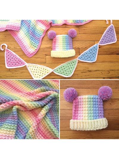 Baby Kids Crochet Blanket Patterns Pastel Rainbow Blanket Hat