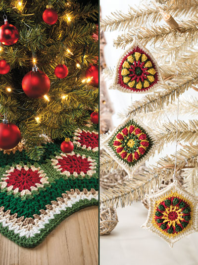 Granny Ripple Tree Skirt, Ornaments Crochet Pattern