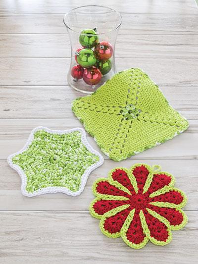 Seasonal Crochet Patterns Easy Holiday Hot Pads Crochet Pattern