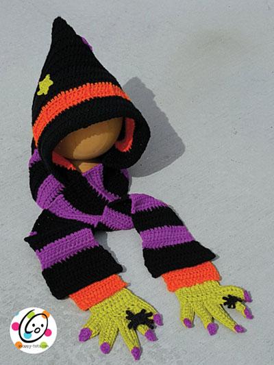Seasonal Crochet Patterns Hooded Witch Scarf Crochet Pattern