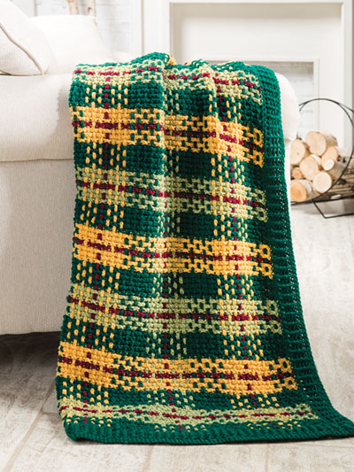 Woodland Plaid Tunisian Throw Crochet Pattern