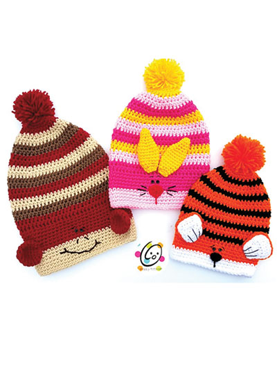 Baby Kids Crochet Patterns Slouchy Animal Hats Crochet Pattern