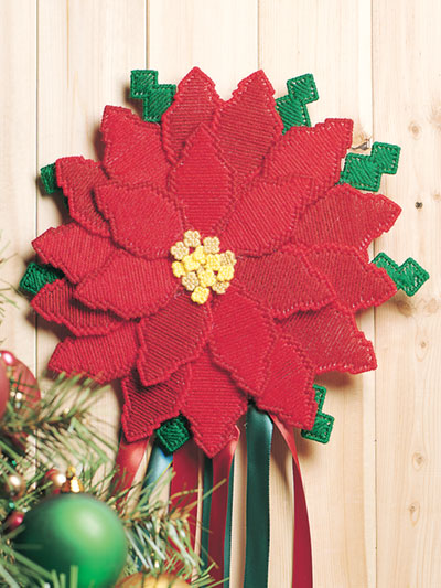 poinsettia door decor plastic canvas pattern