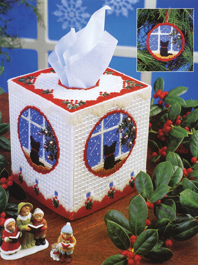 Cat Christmas Tissue Box Plastic Canvas Pattern