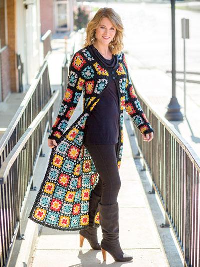 Granny Square Car Coat Crochet Pattern