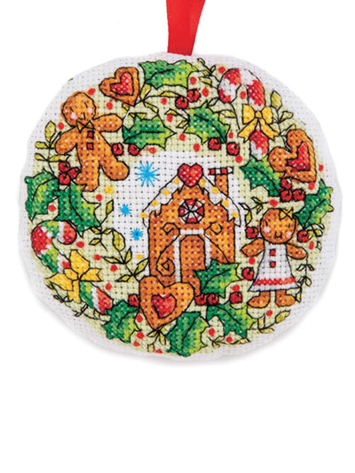 Free Printable Christmas Ornament Cross Stitch Patterns.Gingerbread Wreath Cross Stitch Pattern