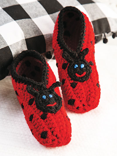 Ladybug Slippers Crochet Pattern