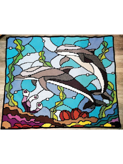 Stained Glass Dolphins Crochet Pattern